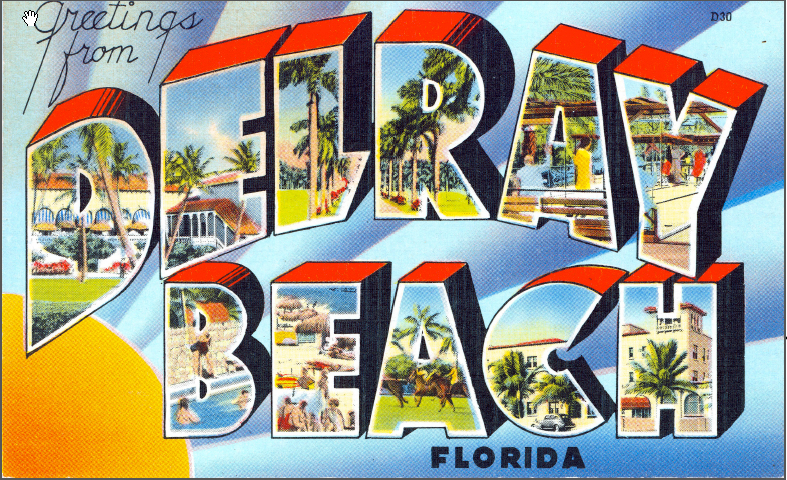 Greetings from Delray Beach, vintage postcard Delray Beach